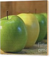 Green And Yellow Apples Wood Print by Sandra Cunningham
