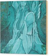Green Angel Wood Print