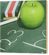 Green Apple For School Wood Print by Sandra Cunningham