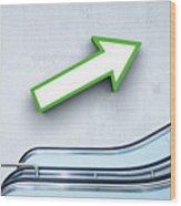 Green Arrow And Escalator Wood Print