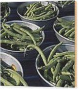Green Beans In Tin Buckets For Sale Wood Print by David Evans