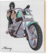 Green Bike Wood Print