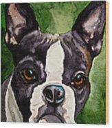Green Black And White Wood Print