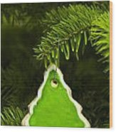 Green Branches Of A Christmas Tree Wood Print