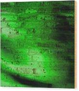 Green Brick Wall Wood Print