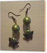 Green Butterfly Earrings Wood Print