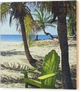 Green Chair On The Beach Wood Print