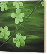 Green Cherry Blossom Wood Print