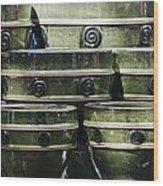 Green Circle Border Planters Wood Print