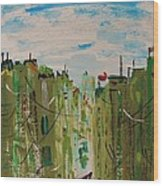 Green City Wood Print by Mary Carol Williams