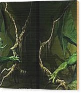 Green Dragon - Gently Cross Your Eyes And Focus On The Middle Image Wood Print