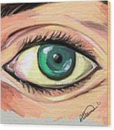 Green Eye Wood Print