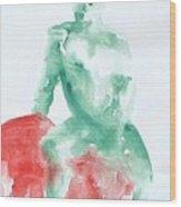 Green Figure Wood Print