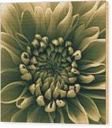 Green Flower Wood Print