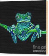 Green Ghost Frog Wood Print