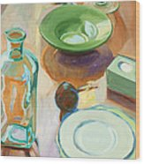 Green Glass And Plates Wood Print