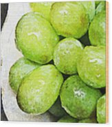 Green Grapes On A Plate Wood Print