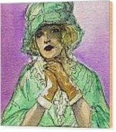 Green Hat Wood Print