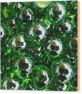 Green Marbles Wood Print