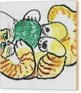 Green Ornament - Holiday Cat 20 Wood Print