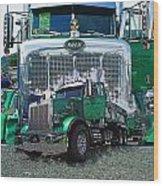 Green Peterbilt Dbl. Exposure Wood Print