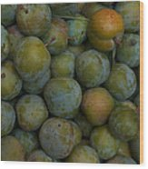 Green Plums Fill A Bin Outside A Local Wood Print