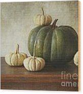 Green Pumpkin And Gourds On Table  Wood Print by Sandra Cunningham
