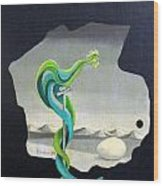 Green Rooster Call 2 In Surrealistic Frame Background Blue Tail Feathers Mountains Landscape And Egg Wood Print