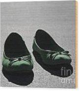 Green Shoes Wood Print