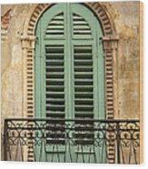 Green Shutters And Balcony In Verona Wood Print