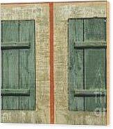 Green Shutters Wood Print