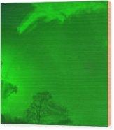 Green Sky River Wood Print