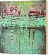 Green Splashes Wood Print