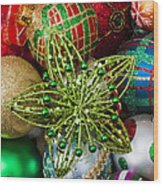 Green Star Christmas Ornament Wood Print