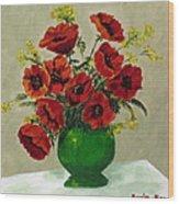 Green Vase Red Poppies Wood Print