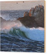 Green Waves Pastel Wood Print