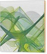 Green Waves Wood Print
