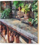 Greenhouse With Flowerpots Wood Print
