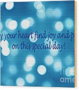 Greeting Card Blue With White Lights Wood Print