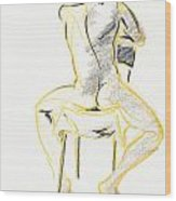 Greg-life Drawing Male Nude Wood Print