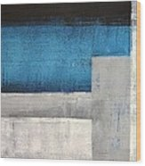 Straight Forward - Teal And Grey Abstract Art Painting Wood Print