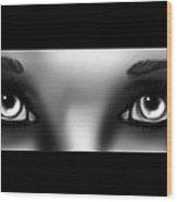 Grey Eyes Wood Print