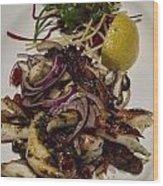 Griiled Fresh Greek Octopus Wood Print by David Smith