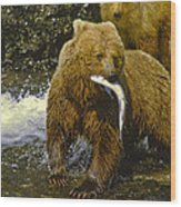 Grizzly Bear And Cubs Wood Print