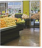Grocery Store Produce Section Wood Print