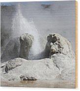 Grotto Geyser Eruption, Upper Geyser Wood Print