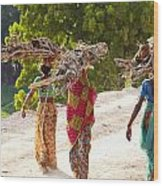 Group Of Women Carrying Firewood Near Wood Print