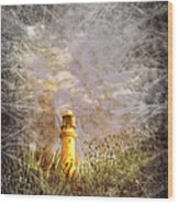 Grunge Light House Wood Print