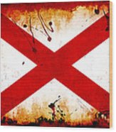 Grunge Style Alabama Flag Wood Print