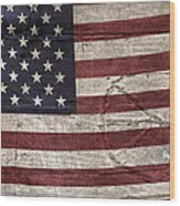 Grungy Textured Usa Peace Sign Flag Wood Print